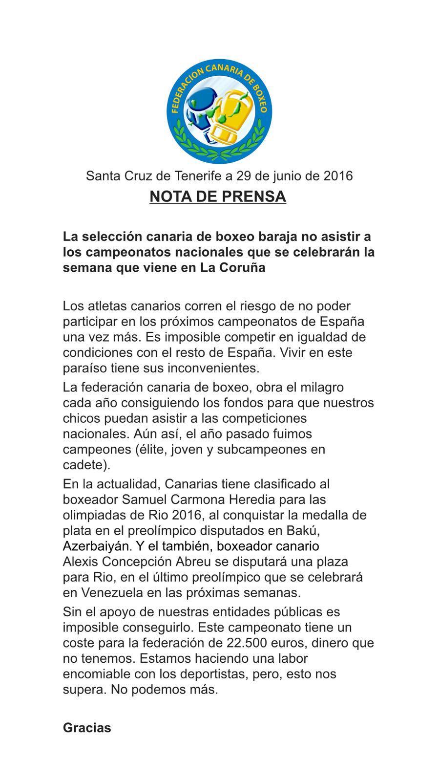nota prensa federacion canaria