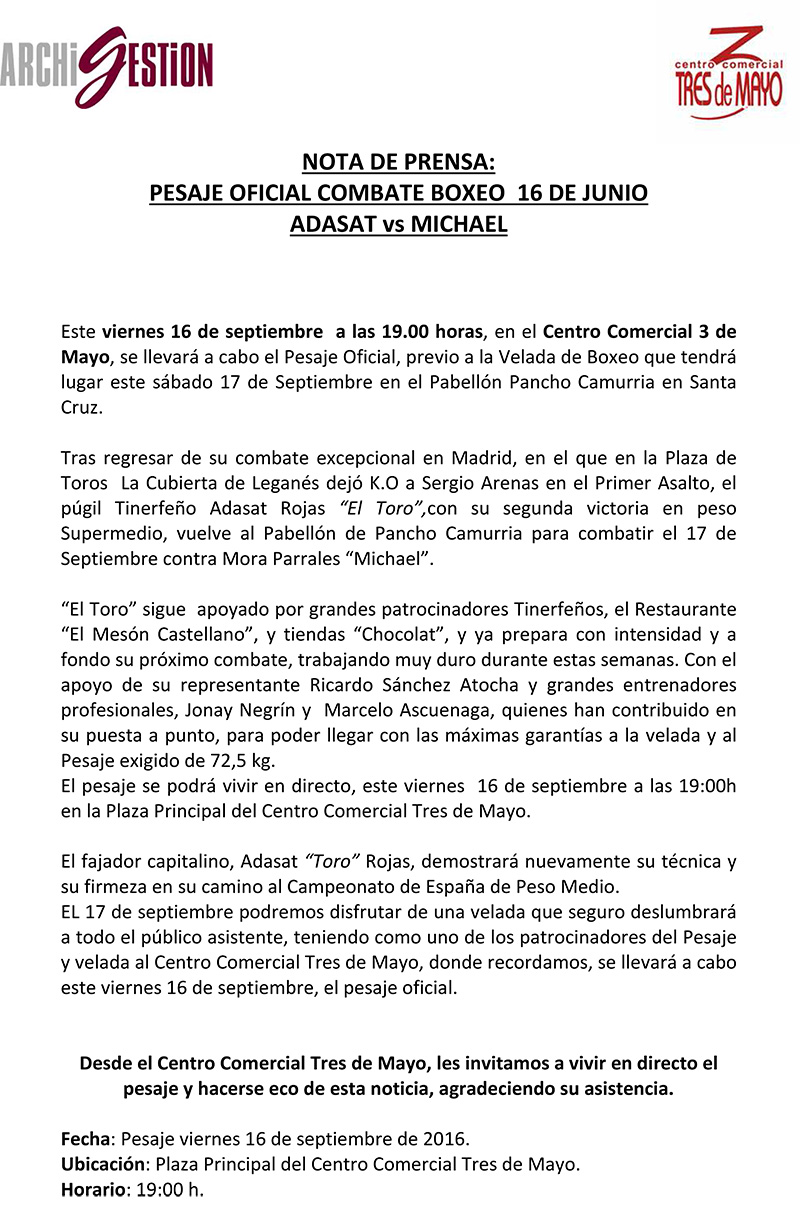CC 3M - PESAJE BOXEO VELADA - NOTA DE PRENSA